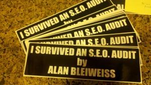 I survived an SEO audit by Alan Bleiweiss bumper sticker