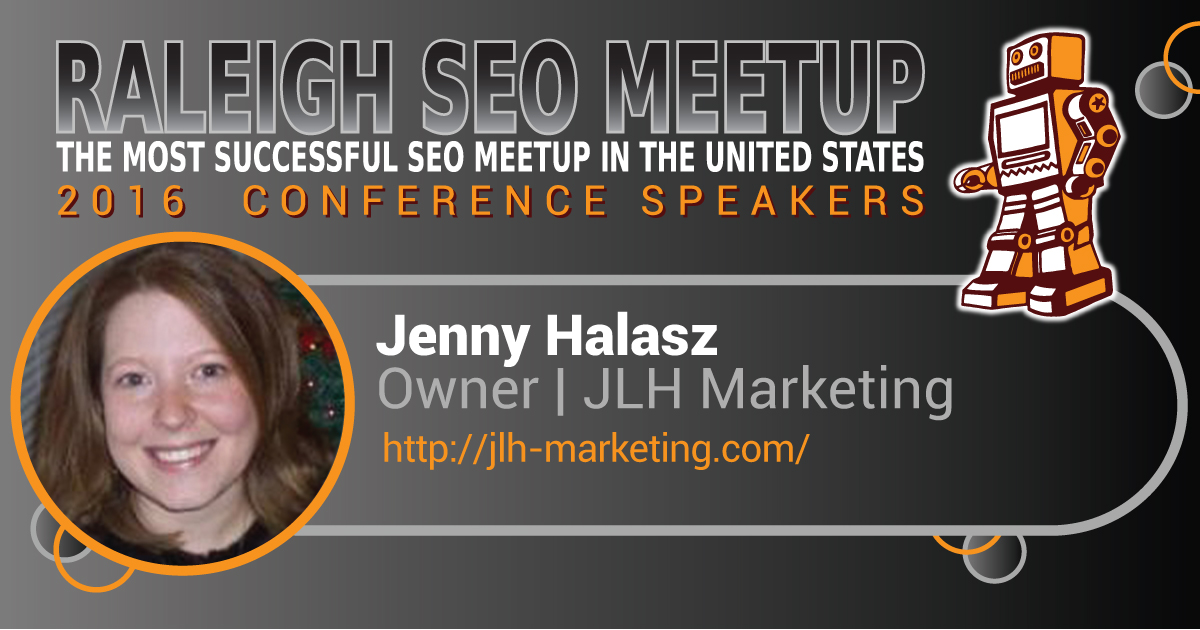 Jenny Halasz speaking at the Raleigh SEO Meetup Conference