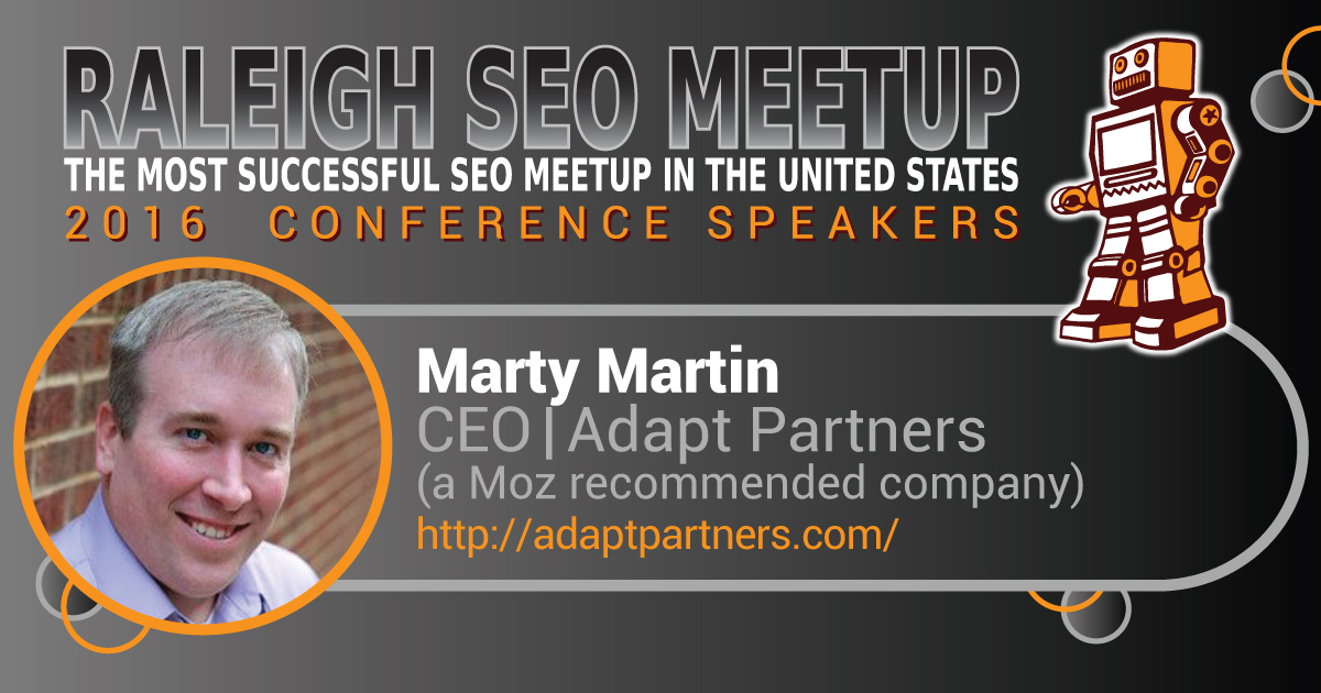 Marty Martin speaking at the Raleigh SEO Meetup Conference