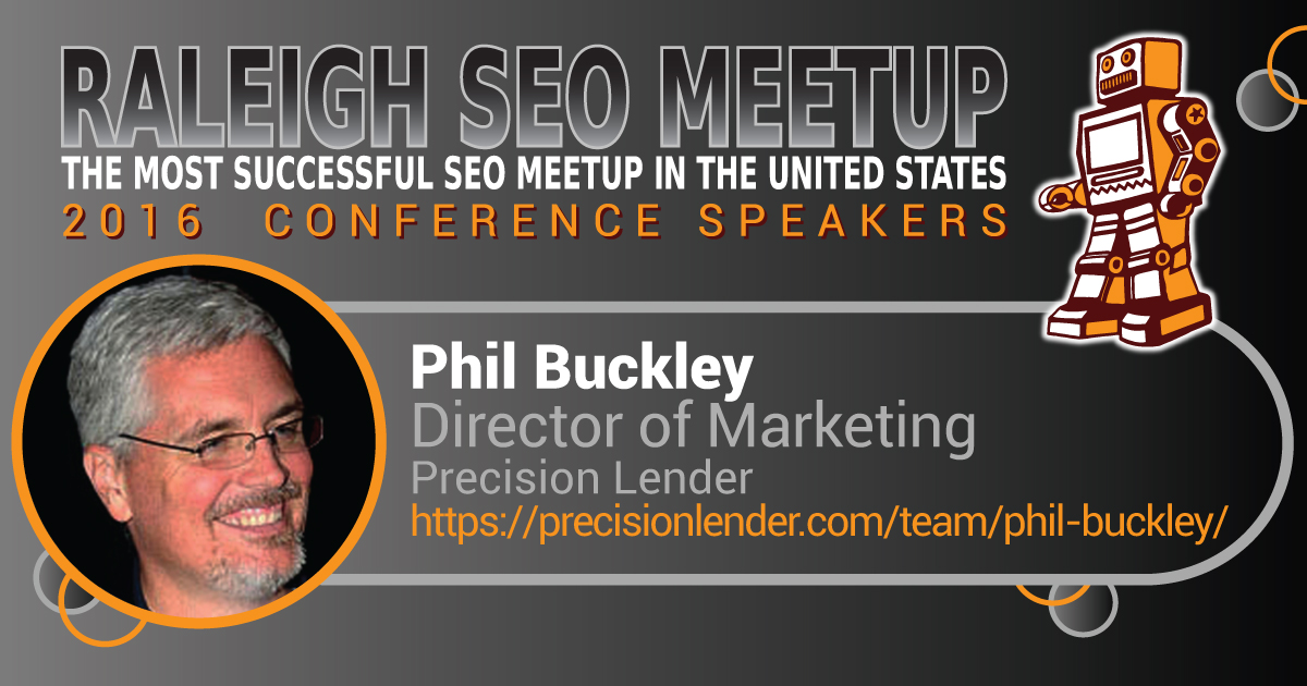 Phil Buckley speaking at the Raleigh SEO Meetup Conference