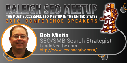 Bob Misita speaking at the Raleigh SEO Meetup Conference