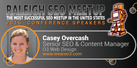 Casey Overcash speaking at the Raleigh SEO Meetup Conference
