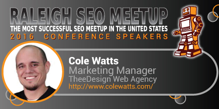 Cole Watts speaking at the Raleigh SEO Meetup Conference