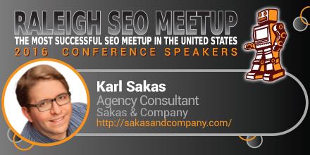 Karl Sakas speaking at the Raleigh SEO Meetup Conference