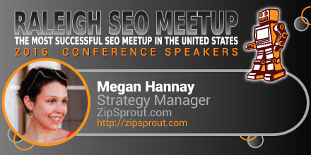 Megan Hannay speaking at the Raleigh SEO Meetup Conference