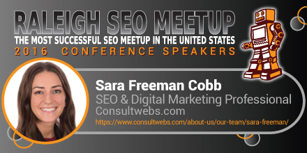 Sara Freeman Cobb speaking at the Raleigh SEO Meetup Conference