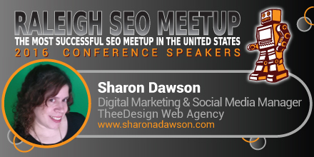 Sharon Dawson speaking at the Raleigh SEO Meetup Conference