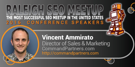Vincent Ammirato speaking at the Raleigh SEO Meetup Conference